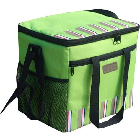 Green Large Insulated Cooler Bags 600D polyester with food