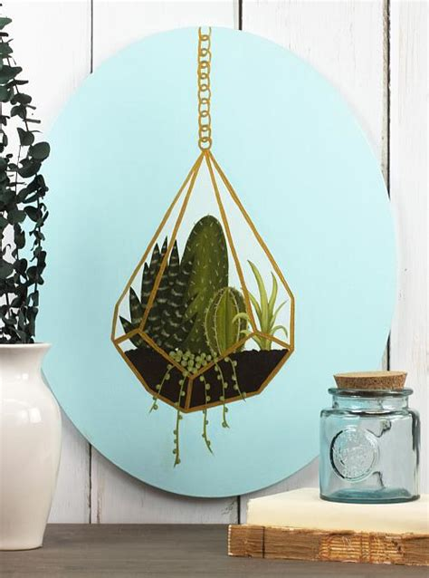 Succulent Terrarium Painting on Oval Canvas - Project by
