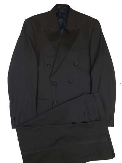 Black 1940s Style Double Breasted Dinner Suit By St