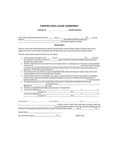 Parking Lease Template - 5+ Free PDF Documents Download