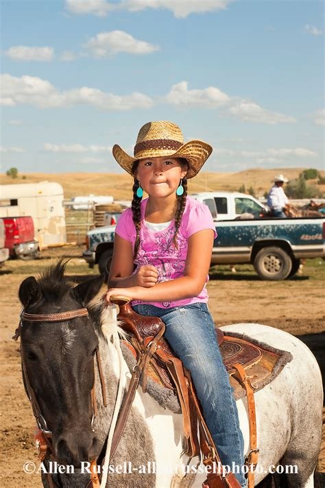 Young cowgirl at Crow Fair Indian Rodeo on Crow Indian