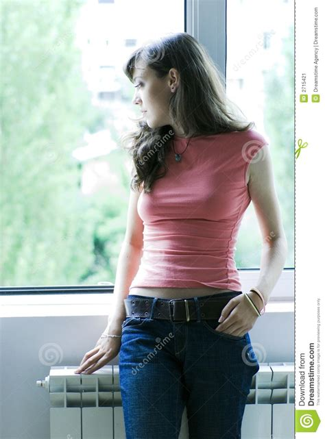 Woman Looking Out Window Stock Image - Image: 2715421