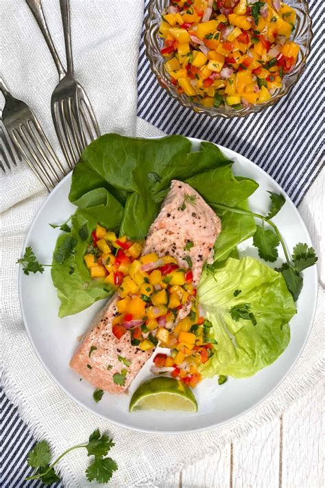 Broiled Salmon with Tropical Mango Salsa l Panning The Globe