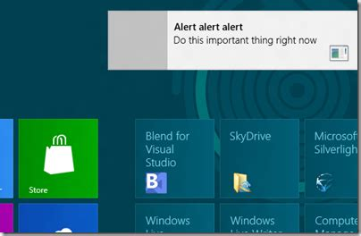 Notifications in Windows 8: how to display new-style toast