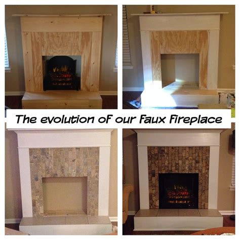 Faux Fireplace: wood, trim, tile, and an electric log