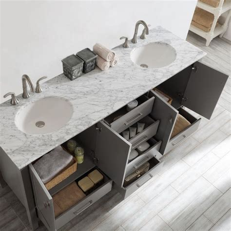 Gela 72-inch Grey Double Vanity with Carrera White Marble