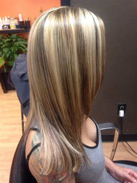 Chunky blonde highlights | Brown hair with blonde