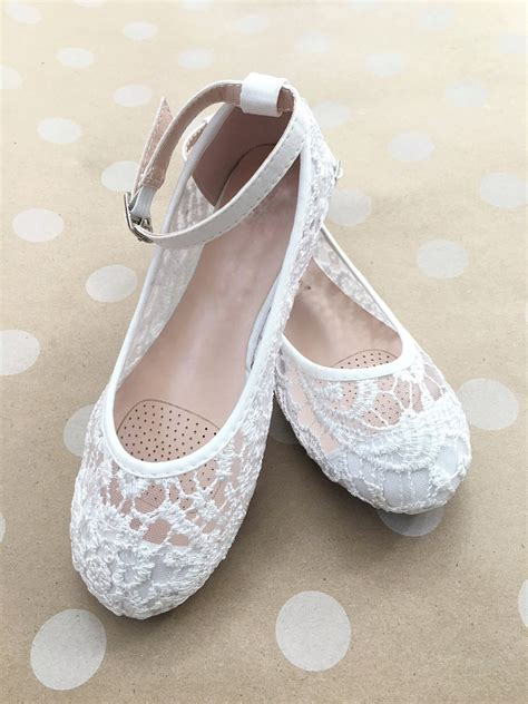 GIRLS SHOES Flower Girl Shoes White Lace Ballet Flats by