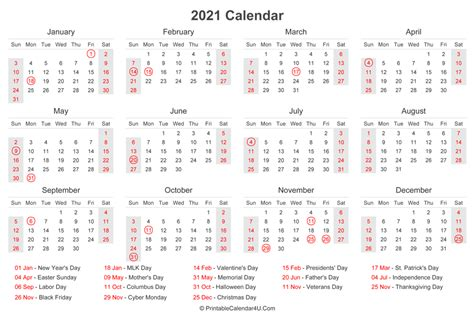 2021 Calendar with US Holidays at bottom (Landscape Layout)