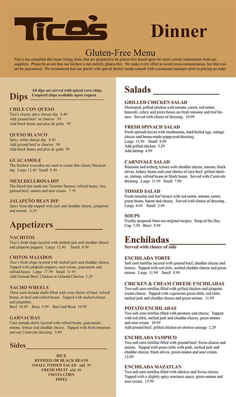 Tico's of Lincoln   Dinner Menu   Order Online   Delivery
