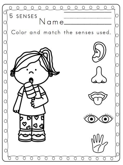 My Five Senses Coloring Pages - Coloring Home