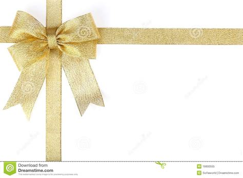 Gold ribbon with bow stock image