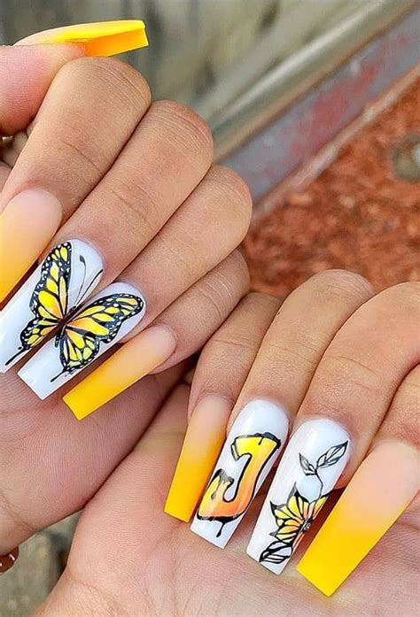 Best Yellow Coffin Nails Art For This Spring and Summer