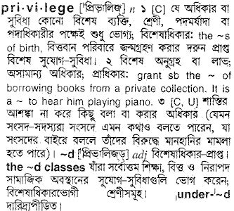 privilege - Bengali Meaning - privilege Meaning in Bengali