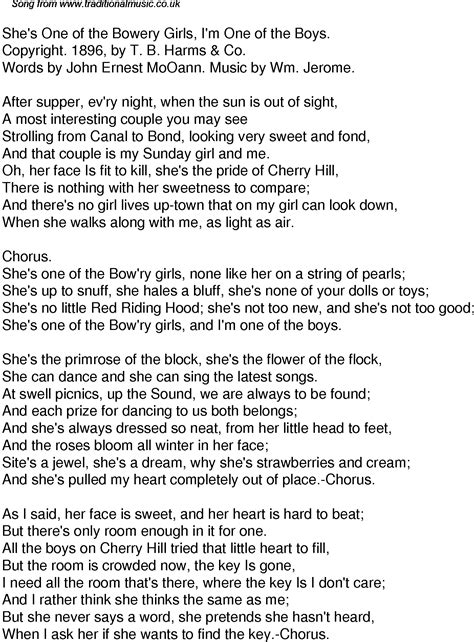 Old Time Song Lyrics for 49 Shes One Of The Bowery Girls I