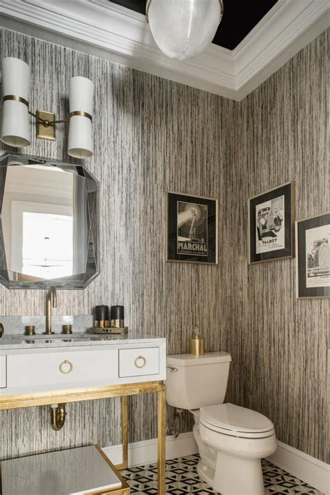Black and White Art Deco Powder Room With Striped