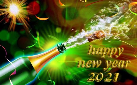 Happy New Year 2021 With Champagne Christmas Card Desktop