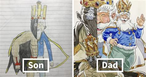 Dad Turns His Sons' Doodles Into Anime Characters, And The