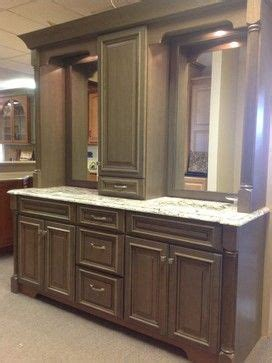 double vanity with linen tower middle - Google Search