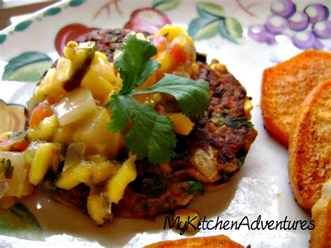 Chipotle Black Bean Burgers with Corn Topped with Mango
