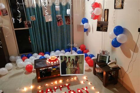 Balloon decoration at your home with candles and flower