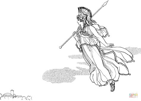 The Descent of Athena to Ithaca coloring page | Free