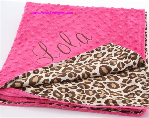 Personalized Baby Blanket Leopard Satin and Hot Pink Minky