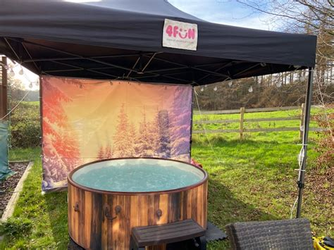Winter Forest Sunset Hot Tub and Gazebo Package - Party