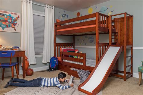 Slide Bunk Bed with Guardrail - Toddler Bunk Bed with
