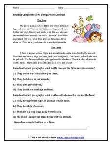 Reading Comprehension: Compare and Contrast Worksheet for