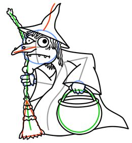Cartoon Witches Step by Step Drawing Lesson