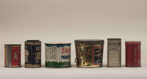 Assorted Vintage Tin Containers   Witherell's Auction House