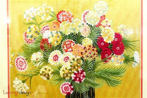 Hand embroidery painting - flower vase