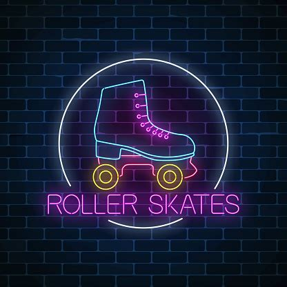 Retro Roller Skates Glowing Neon Sign In Circle Frame On