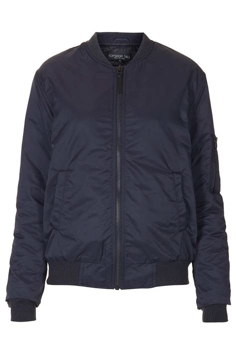 Lyst - Topshop Tall Airforce Bomber Jacket in Blue